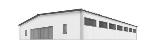 Big hangar over white Royalty Free Stock Image