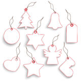 Big Hanging Christmas Set Red White Price Sticker Royalty Free Stock Photography