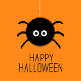 Big hanging fluffy spider. Happy Halloween card. Flat design Royalty Free Stock Image