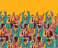 Big happy business team color people. Big group togetherness happy business people. Color vector illustration Stock Photography