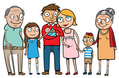 Big happy family. Cartoon vector illustration of a large family with parents, three children and grandparents Stock Photos