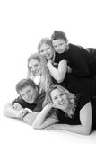 Big happy family. A big happy family piled on top of each other for a portaits royalty free stock photo