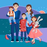 Big happy family on a background of hills and sunset. Parents with 2 daughters and a son. One daughter is holding a toy rabbit. Vector illustration Stock Photo