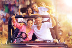 Big happy family in car. Portrait of big happy family in car Stock Photography