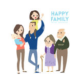 Big happy family cartoon illustration. Big happy family with parents children and grandparents vector cartoon illustration Stock Image