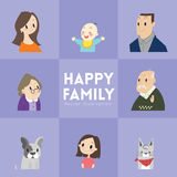 Big happy family cartoon illustration Royalty Free Stock Photo