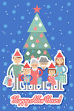 Big happy family with Christmas gifts in hands. Stock Images