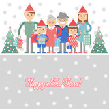 Big happy family with Christmas gifts in hands. Vector illustration on a white background. Grandma and grandpa, children, grandchi Royalty Free Stock Images