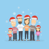 Big happy family in Christmas hats. Stock Photo