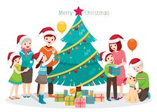 Big Happy Family, Christmas Tree and Gifts, Holiday Party at Hom. New Year Xmas Animals Festive Celebrations vector illustration