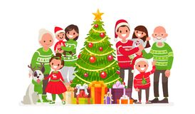Big happy family and Christmas tree with gifts. Vector illustration. In a flat style Stock Photo
