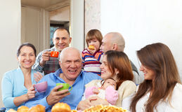Happy multigeneration family Stock Photos