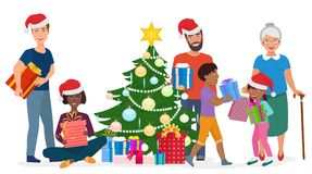 Big happy family decorates the Christmas tree together. Vector illustration. Royalty Free Stock Photography
