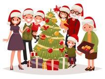 Big happy family decorates the Christmas tree. Vector illustrati Royalty Free Stock Photos