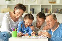 Big happy family drawing Royalty Free Stock Photography