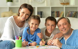 Big happy family drawing Stock Photography