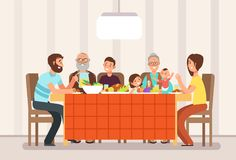 Big happy family eating lunch together in living room cartoon vector illustration. Lunch family, father mother with children and parents vector illustration
