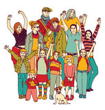 Big happy family group standing isolate on white. Stock Image