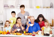 Big happy family have breakfast. Stock Photography