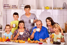 Big happy family have breakfast Stock Images