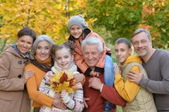 Big happy family. Having fun in autumnal park Royalty Free Stock Photo