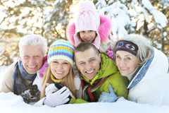 Family in winter park. Big happy family having fun in winter park covered with snow Stock Images