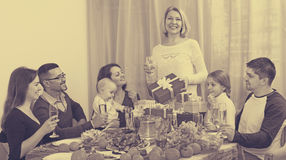 Big happy family home celebration Royalty Free Stock Image