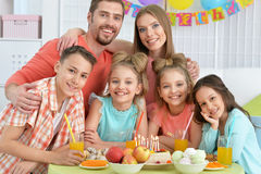 Big happy family. Portrait of a big happy family at birthday party Royalty Free Stock Photo