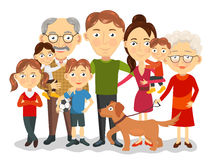 Big and happy family portrait with children, parents, grandparents vector Royalty Free Stock Images