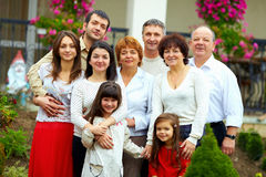 Big happy family portrait, at home yard Royalty Free Stock Images