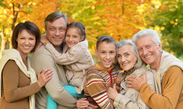Big happy family. Posing outdoors in autumn Royalty Free Stock Photography