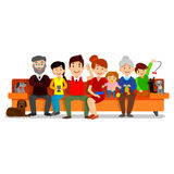 Big Happy Family sit on sofa. Parents with Children. Father, mother, children, grandpa, grandma, dog and cat Royalty Free Stock Image