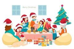 Big Happy Family Sitting, Talking and Eating on Holiday Party at. New Year Xmas Animals Festive Celebrations stock illustration