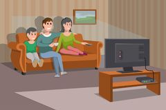 Big Happy Family Watching TV On Sofa. Man With Coffee Cup. Evening Watching Television Series. Interior Of The Room With TV Royalty Free Stock Photography