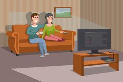Big happy family watching TV on sofa. Man with coffee cup. Evening watching television series. Interior of the room with TV. And people sitting on the couch stock illustration