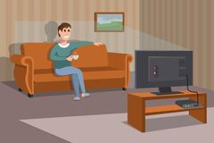 Big happy family watching TV on sofa. Man with coffee cup. Evening watching television series. Interior of the room with TV. And people sitting on the couch Stock Images
