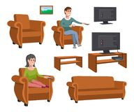 Big happy family watching TV on sofa. Man with coffee cup. Evening watching television series. Set of various elements of TV. Viewing. Vector graphics to design Royalty Free Stock Photos