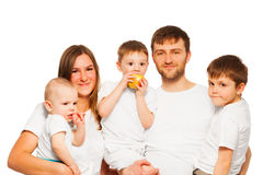 Big happy family wearing white blank t-shirts Royalty Free Stock Photos