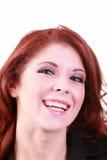 Big happy smile portrait of redhead woman. Redhead caucasian woman portrait with big smile stock image