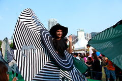 Big Hat in Grand Finale Parade. Standard Chartered Arts in the Park Mardi Gras is one of Hong Kong's largest and most vibrant annual community arts events Royalty Free Stock Images