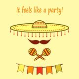 Big hat mariachi with mustache, maracas and paper flags with phrase `It feels like a party` stock illustration