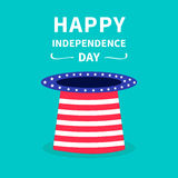 Big hat with stars and strip. Happy independence day United states of America. 4th of July. Paper boat. Dash line Stock Photo