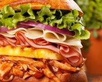 Big Hawaiian Chicken Sandwich Closeup Royalty Free Stock Photos