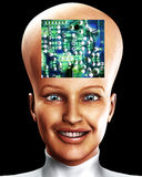 Big Head 38. An conceptual image of a cyborg women who is very clever, we can tell this by the big head with an added circuitbored effect Royalty Free Stock Images