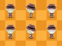 Big Head Explorer Walking Cartoon Vector Stock Image