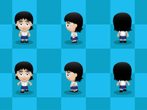 Big Head Glasses Girl Walking Cartoon Vector Stock Images