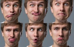 Big head guy makes crazy face emotions Royalty Free Stock Photo