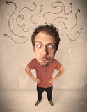 Big head person with arrows Royalty Free Stock Photography
