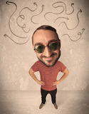 Big head person with arrows Royalty Free Stock Photo