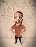 Big head person with arrows Stock Image